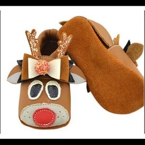 Brown Red Reindeer Leather Booties